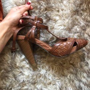 Brown Woven Sandal Heel